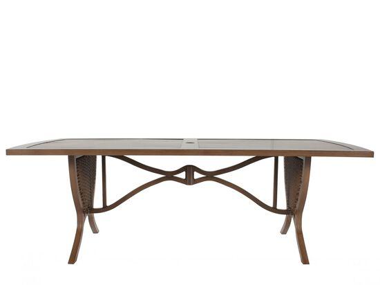 Rectangular Aluminum Patio Dining Tablein Medium Brown