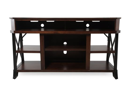 Open Compartment Casual TV Console in Dark Brown
