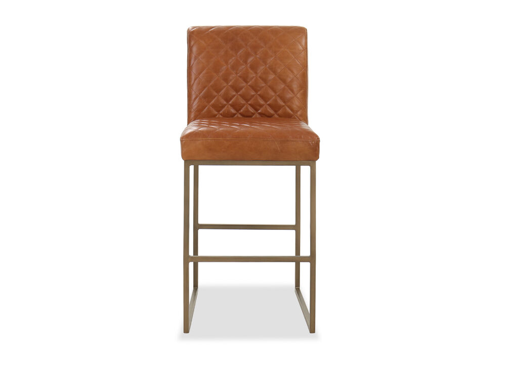 Contemporary Diamond-Patterned Bar Stool in Camel