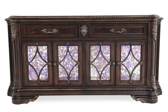 "Marble-Inserted 82.5"" Buffet in Dark Cherry"