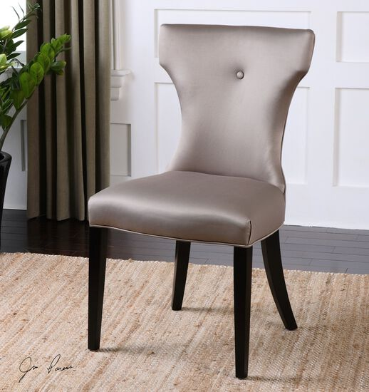 """Button-Tufted Armless 21"""" Chair in Silvery Taupe"""