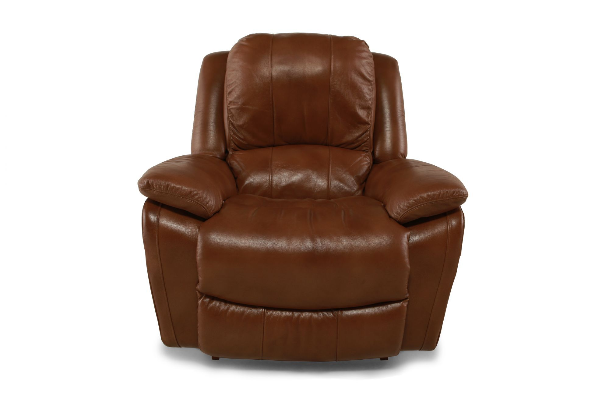 Pillow Top Arm Leather Rocker Recliner In Wheat Mathis Brothers