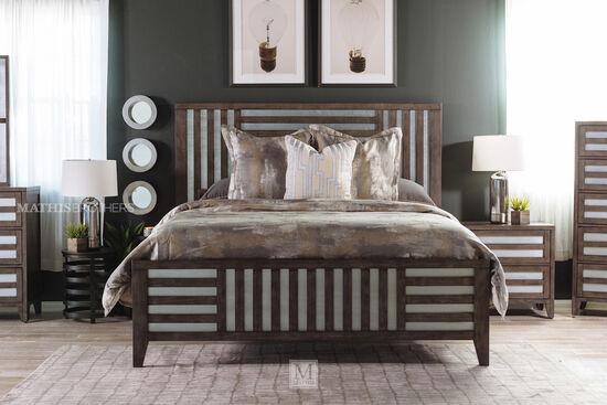 """62"""" Modern Lattice-Framed King Bed in Driftwood"""