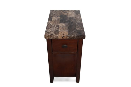 Rectangular Contemporary Chairside Tablein Medium Brown