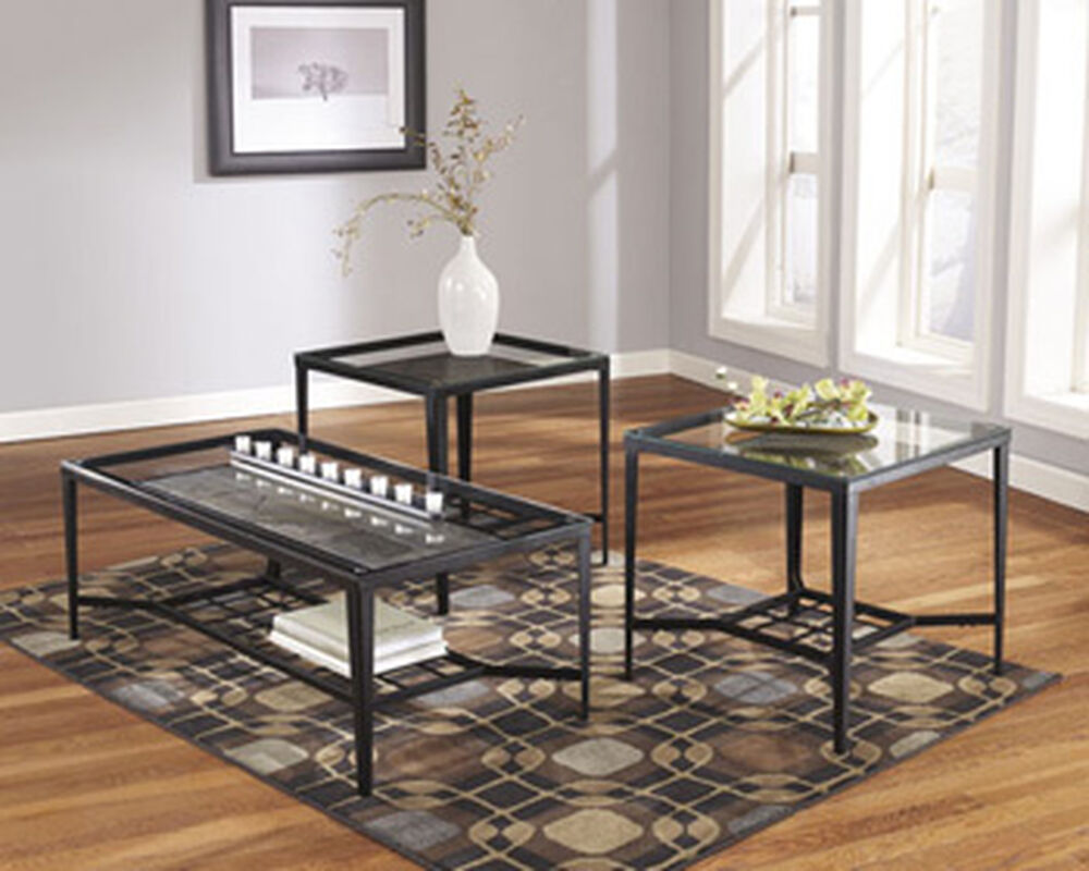 Three-Piece Contemporary Accent Table Set in Black