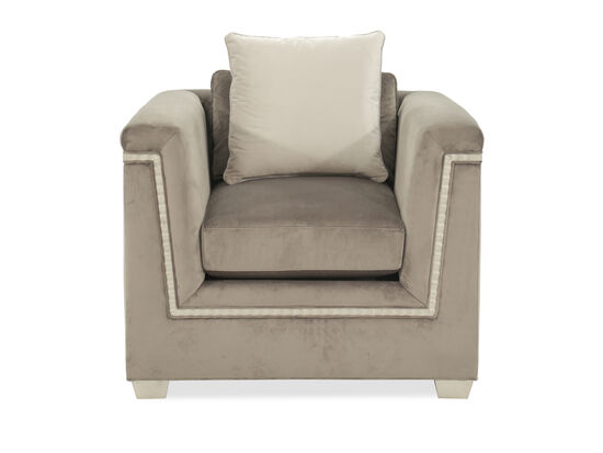 "Scalloped-Trim Glam 37"" Chair in Gray"