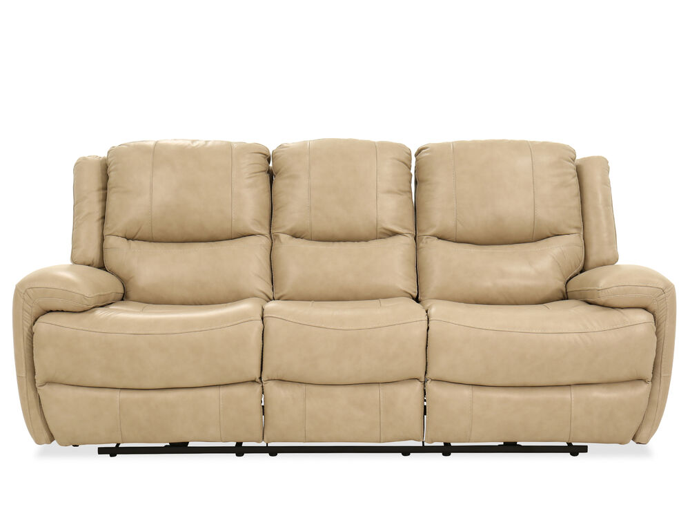 Leather Reclining Sofa In Stone