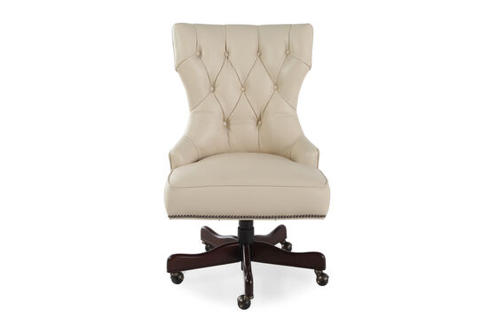 Leather Button-Tufted Swivel Tilt Desk Chair in Ivory