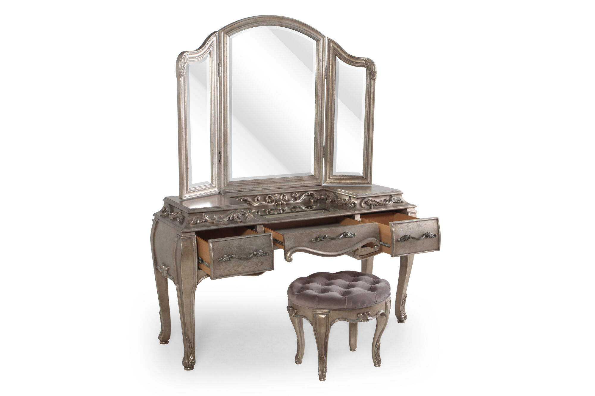Contemporary Leaf Carved Vanity Set With Stool In Grey Mathis Brothers Furniture