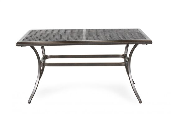 Curved Leg Aluminum Cast Top Cocktail Table in Medium Brown