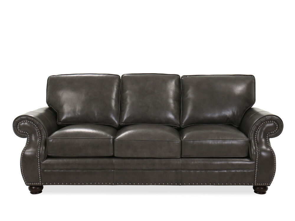 Nailhead-Accented Contemporary Leather Sofa in Charcoal ...