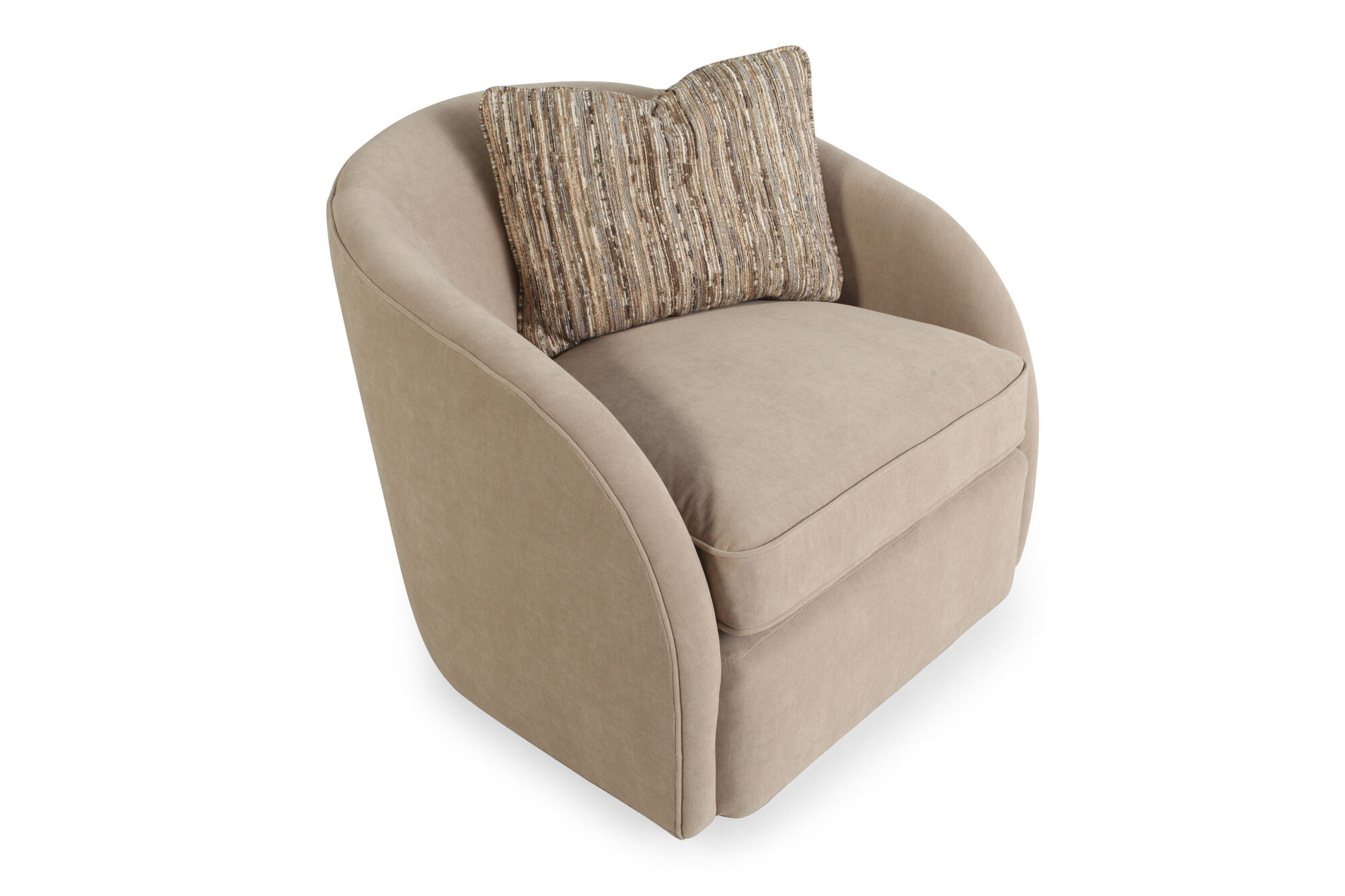 """Living Room Chair Styles: Bucket-Style Contemporary 33"""" Swivel Chair In Dark Latte"""