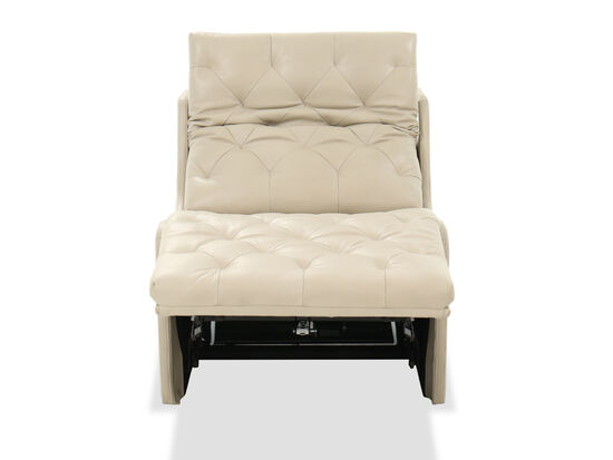 "30"" Tufted Leather Power Recliner in Beige"