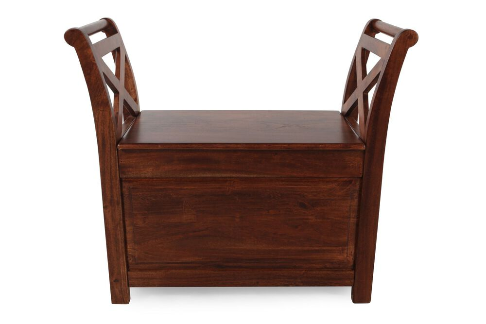 """Casual 36"""" Storage Bench in Brown"""