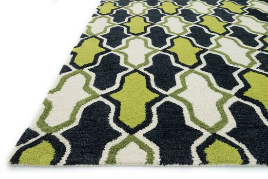 "Contemporary 5'-0""x7'-6"" Rug in Lime/Charcoal"