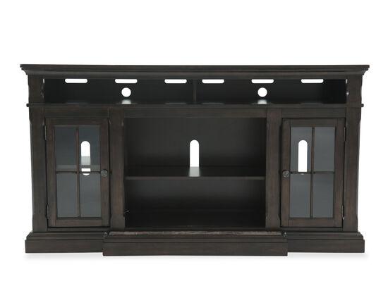Glass Door Transitional TV Stand in Dark Brown