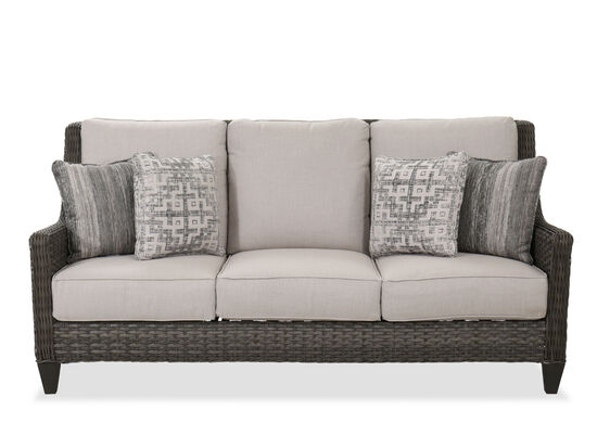Contemporary Woven Patio Sofa in Dark Gray