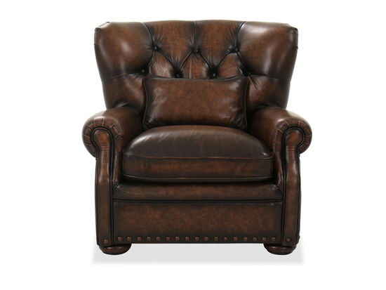 Button Tufted Leather Accent Chair in Dark Brown