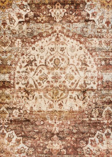 """Transitional 2'-7""""x4' Rug in Rust/Ivory"""