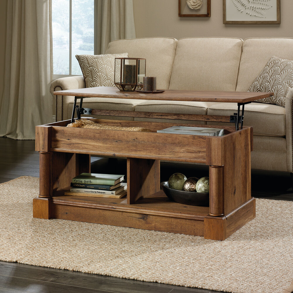 Lift Top Coffee Table Antique: Rectangular Lift-Top Contemporary Coffee Table In Vintage