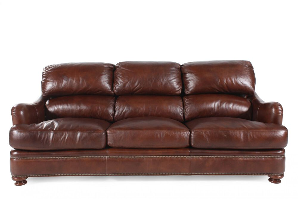 Nailhead Accented Leather Sofa In