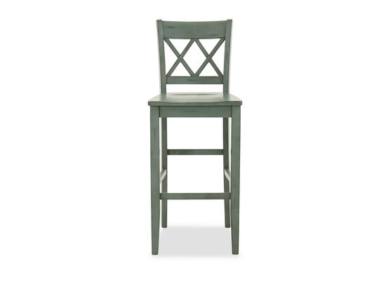 "45"" Casual X-Back Bar Stool in Green"