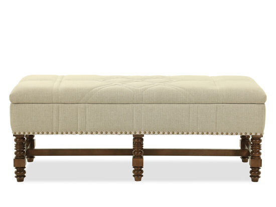 """18.5"""" Contemporary Quilted Storage Bench in Beige"""