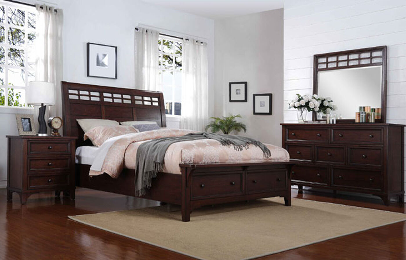 Four piece contemporary storage bedroom set in brown for Bedroom furniture small apartments