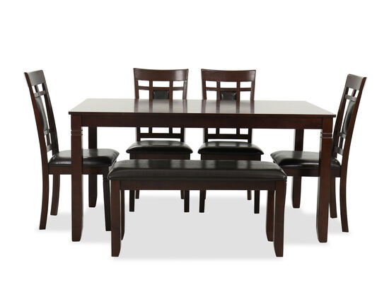 Six-Piece Contemporary Dining Room Set in Brown