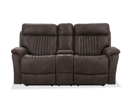 Casual 76'' Power Reclining Loveseat with Console in Chocolate