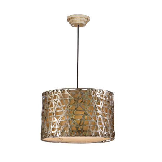 Weave Patterned Drum Pendant in Champagne