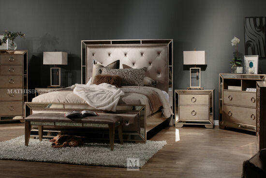 """42"""" Antique Mirror-Accented Contemporary Media Chest in Gray"""