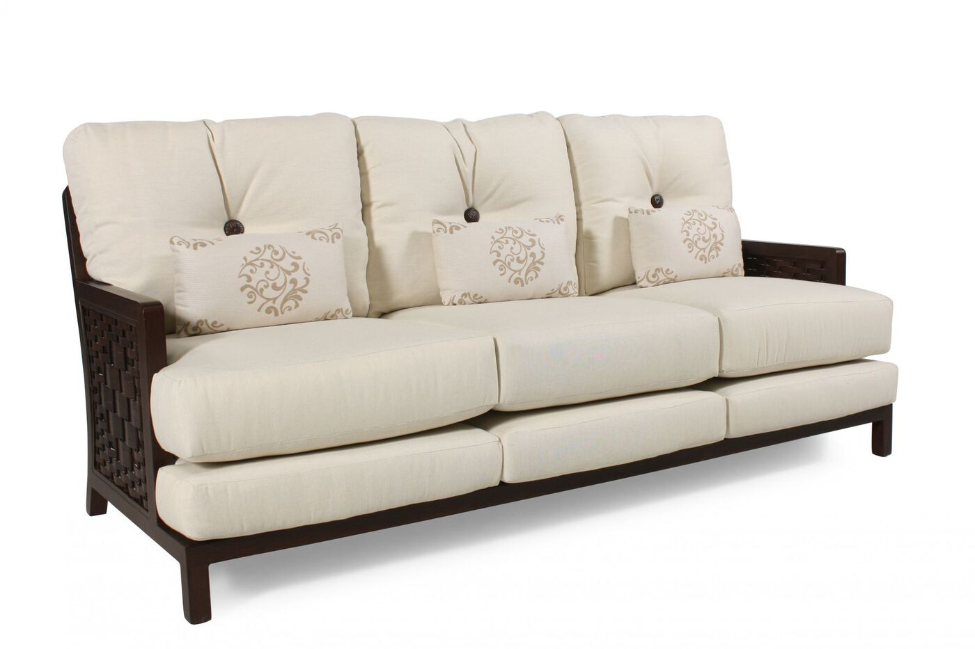 Button tufted casual sofa in white mathis brothers furniture for Casual couch