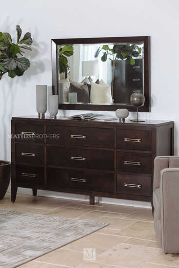 Transitional Nine-Drawer Dresser in Brown