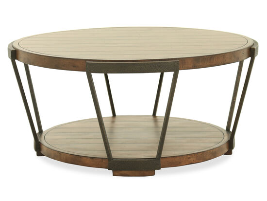 Panelled Round Industrial Cocktail Table in Bourbon