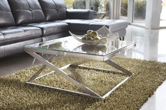 Square Contemporary Cocktail Table in Nickel