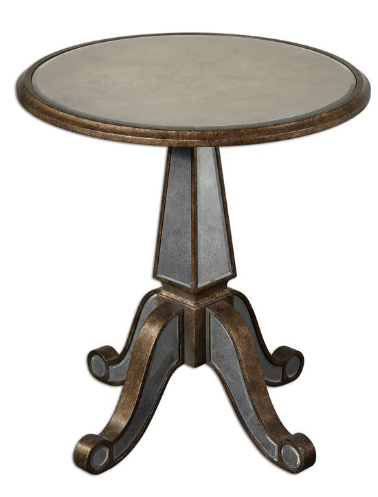 Mirrored Accent Table in Rustic Gold
