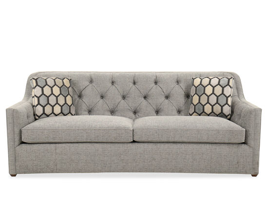 "Button-Tufted Traditional 86"" Sofa in Tweedy Blue"
