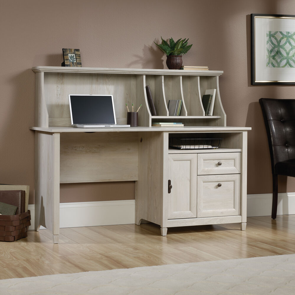 """59"""" Contemporary Computer Desk With Hutch In Chalked"""
