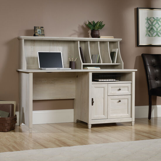 "59"" Contemporary Computer Desk with Hutch in Chalked Chestnut"