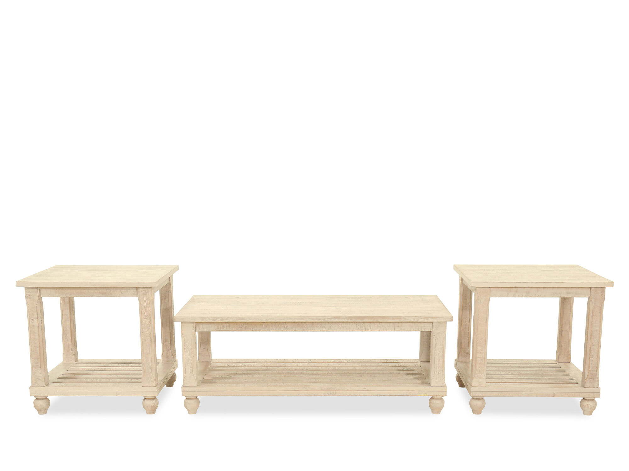 Three Piece Casual Table Set In White Mathis Brothers Furniture