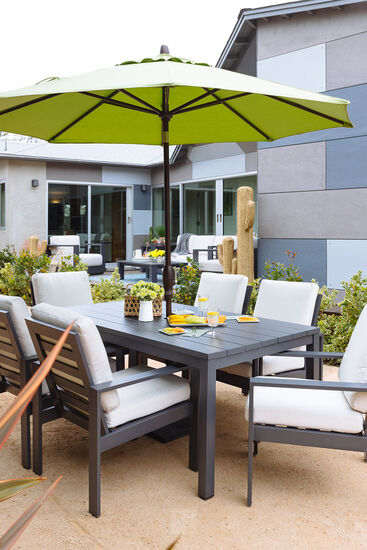 Contemporary Plank Top Patio Dining Table in Dark Gray