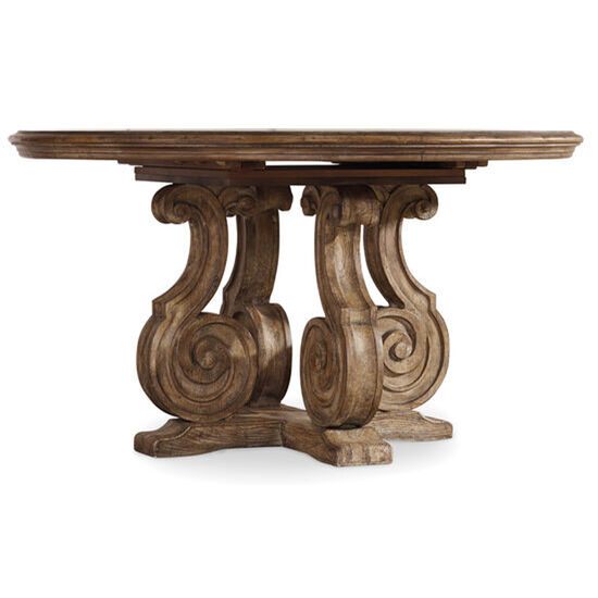 """Solana 54"""" Pedestal Dining Table W/1-20"""" Leaf in Light Wood"""