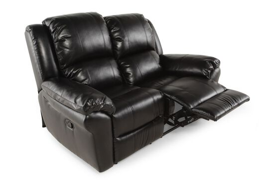 Motion Reclining Leather 65 Quot Loveseat In Black Mathis