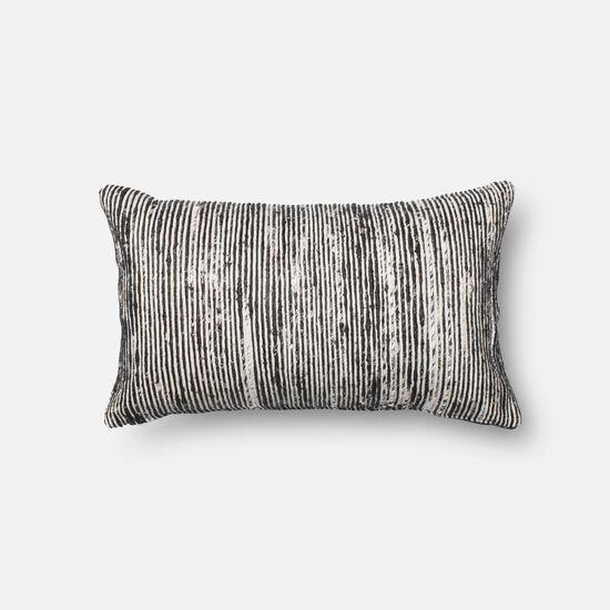 """Contemporary 13""""x21"""" Cover w/Down Pillow in Black/Multi"""