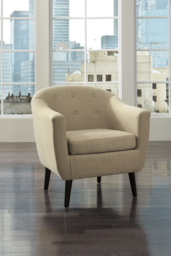 "Button-Tufted Mid-Century Modern 30"" Accent Chair in Beige"