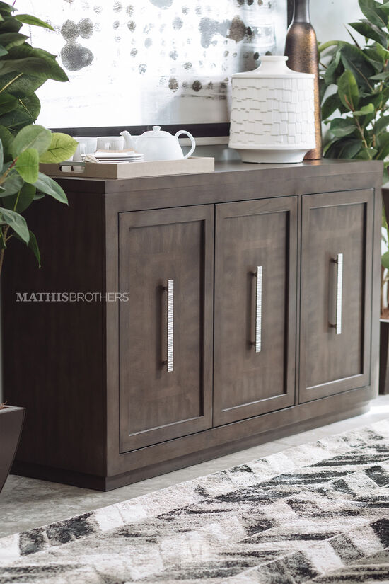 "Contemporary 60"" Three-Door Sideboard in Gray"