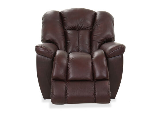 """38"""" Leather Rocking Recliner in Burgundy"""