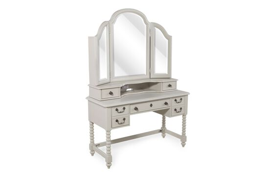 Country Desk/Vanity with Mirror in Morning Mist Gray