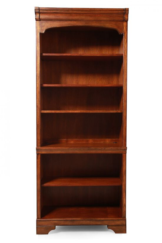 Traditional Adjustable Shelf Open Bookcase in Medium Oak